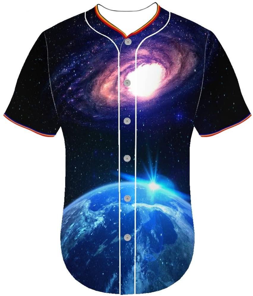 Entaiquji Jerseys Universe eflq Baseball Jerseys 3D Print Button Front Shirt Youth Round Collar 3D Printed Tuxedo t Shirt
