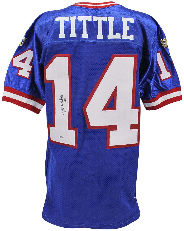 Y.A. Tittle Autographed Jersey - Blue Wilson BAS #H92213 - Beckett Authentication - Autographed NFL Jerseys