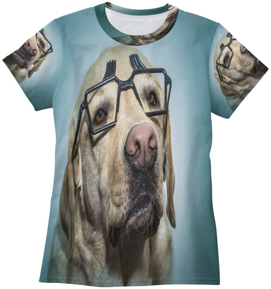 N /A Portrait of Labrador Dog with Glasses Womens T Shirts Funny Graphic Tees Shirts Summer Short Sleeve Tshirt