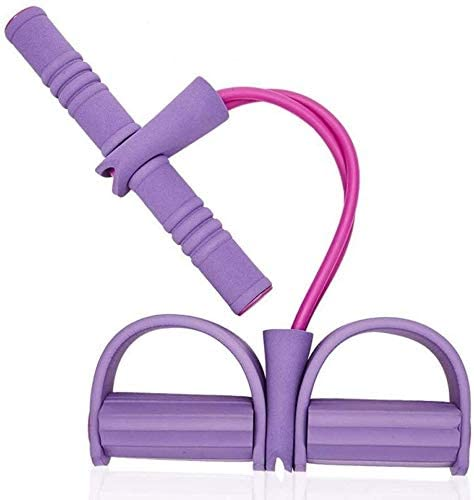 2-Tubes Pull Rope Sit-up Training Foot Pedal Resistance Band Stretch Trainer Waist Arm Leg Tummy Trainer Slimming Yoga