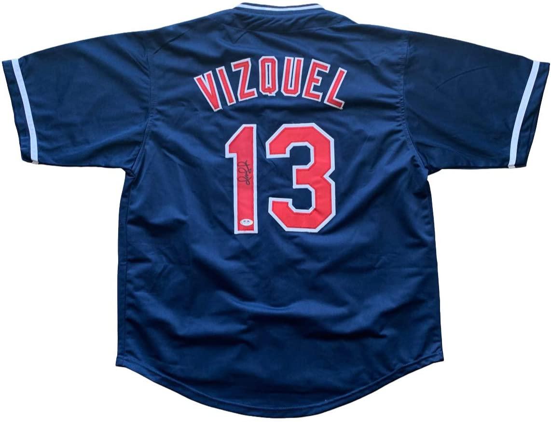 Omar Vizquel signed jersey Cleveland Indians PSA COA Golden Glove Little O