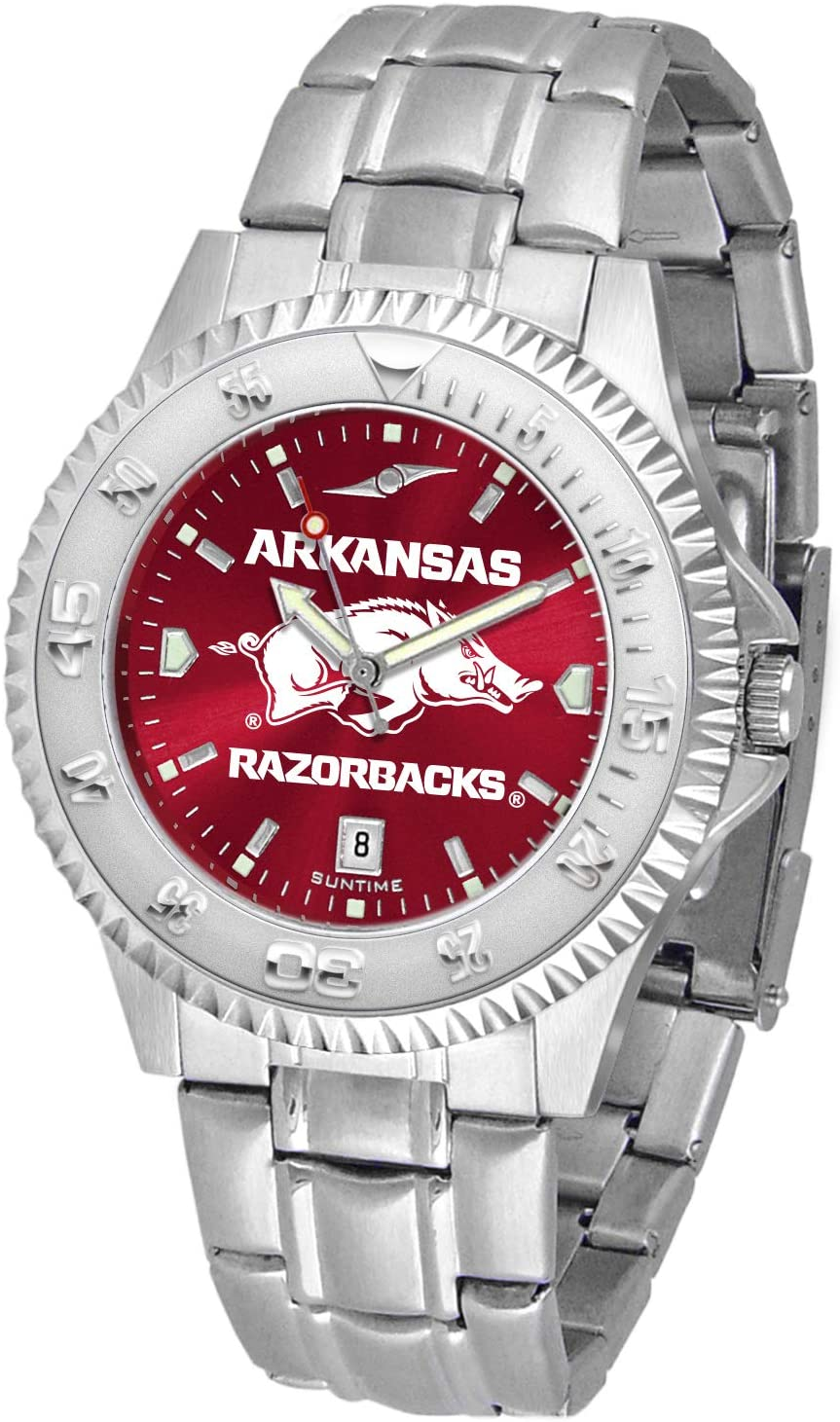 SunTime Arkansas Razorbacks Competitor AnoChrome Men's Watch with Steel Band