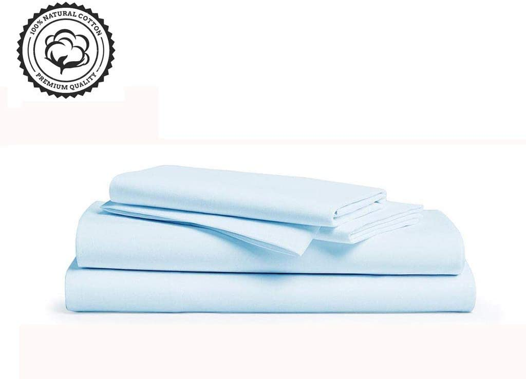LINENWALAS 800 Thread Count 100% Long Staple Cotton OEKA TEX Certified, Smooth Sateen Weave 4 Piece Bed Sheets Set - 2 Pillow Cases, Flat Sheet & Fitted Set with 16 Inch Deep Pocket-(Queen, Sky Blue)