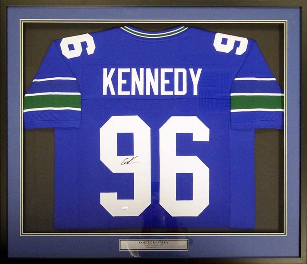 Autographed Cortez Kennedy Jersey - Framed Blue MCS Holo Stock #113527 - Autographed NFL Jerseys