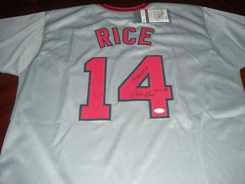 Autographed Jim Rice Jersey - Redsox 79 Al Mvp hof 09 Grey coa - JSA Certified - Autographed MLB Jerseys