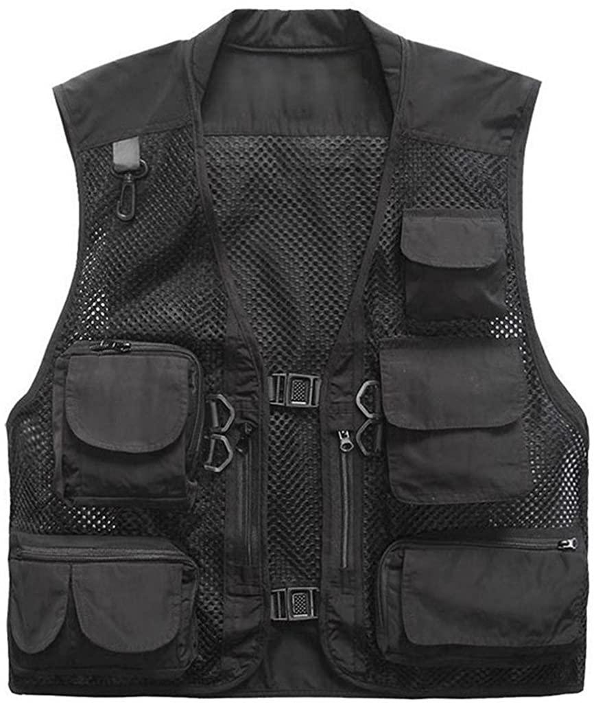 Herebuy8 Men's Mesh Fishing Vest Multi Pockets Photography Outdoor Jacket