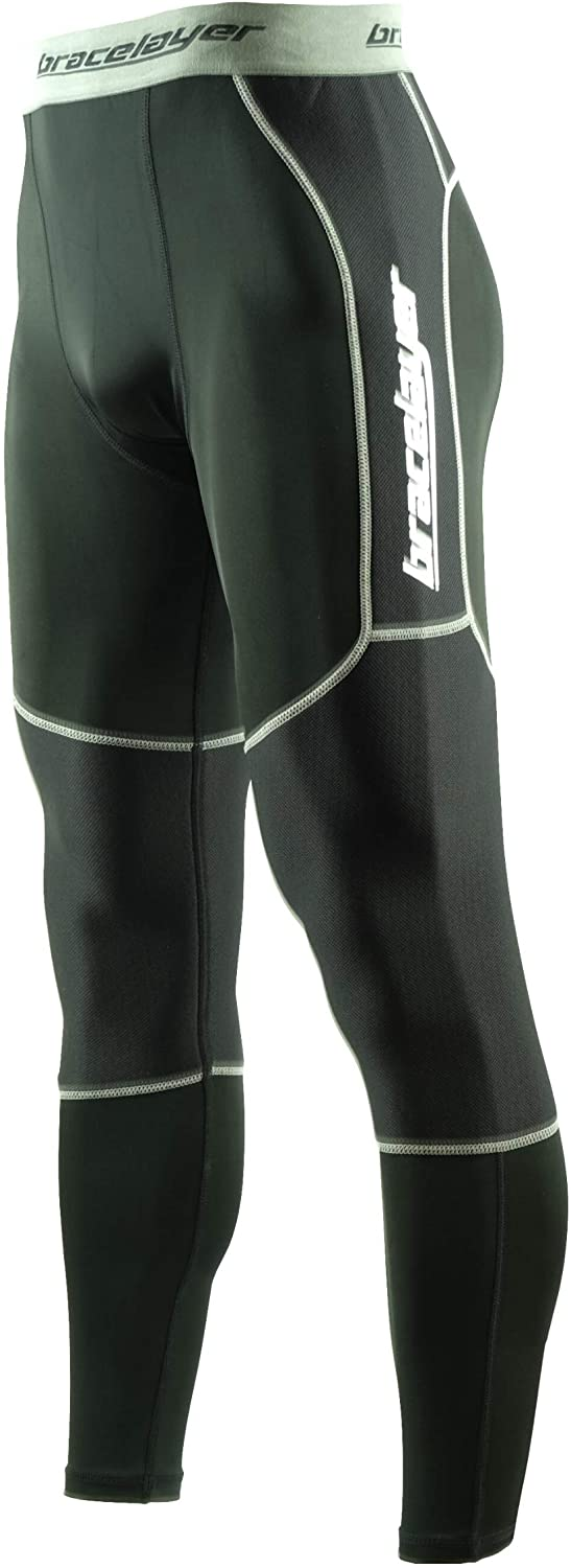 Bracelayer Men's KX2 Knee Stabilizing Compression Pants with Built in Knee Sleeves