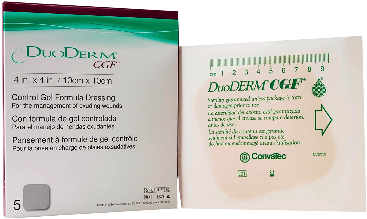 ConvaTec Duoderm CGF Hydrocolloid Wound Dressing 4 L x 4 w Size Square Shape (Box of 5 Each)