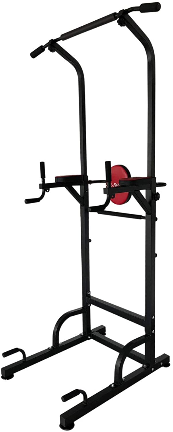 X-Factor Pull Up Power Tower 500 lbs Dip Chin Up Station w 4 Suction Cups Stabler Adjustable Height with Strips for Home Pro Gym