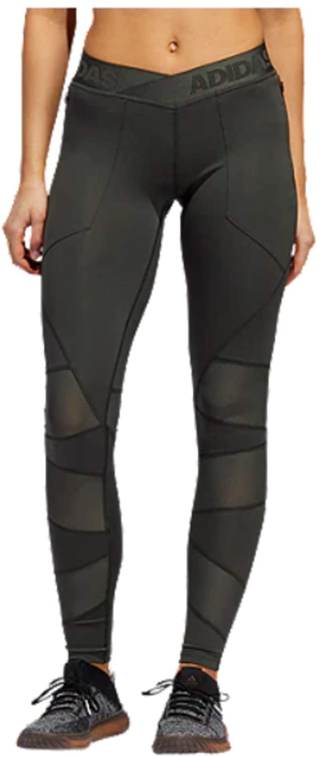 adidas Women's Alphaskin Utility Long Tights, Legend Earth