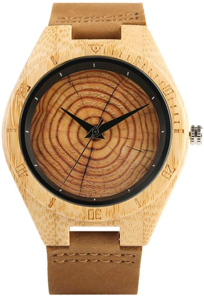 WRENDYY Wooden Watch Bamboo Wooden Watches Quartz Men Leather Band Fashion Casual Wrist Watch Tree Annual Ring Dial Creative Male Clock Gift