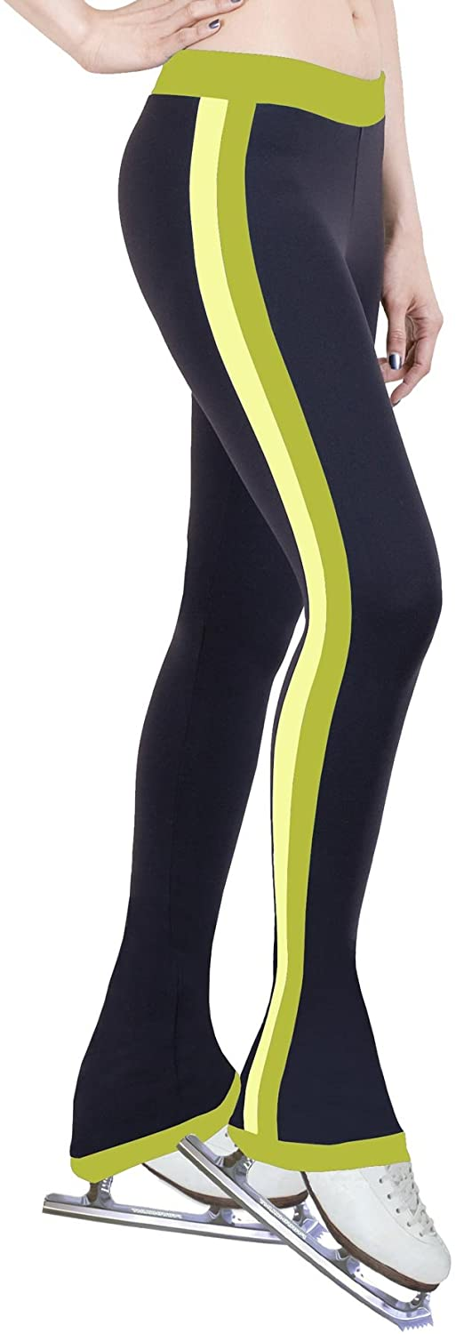ny2 Sportswear Figure Skating Practice Pants with Side Stripe Lime/Two Tones (Child Extra Small)