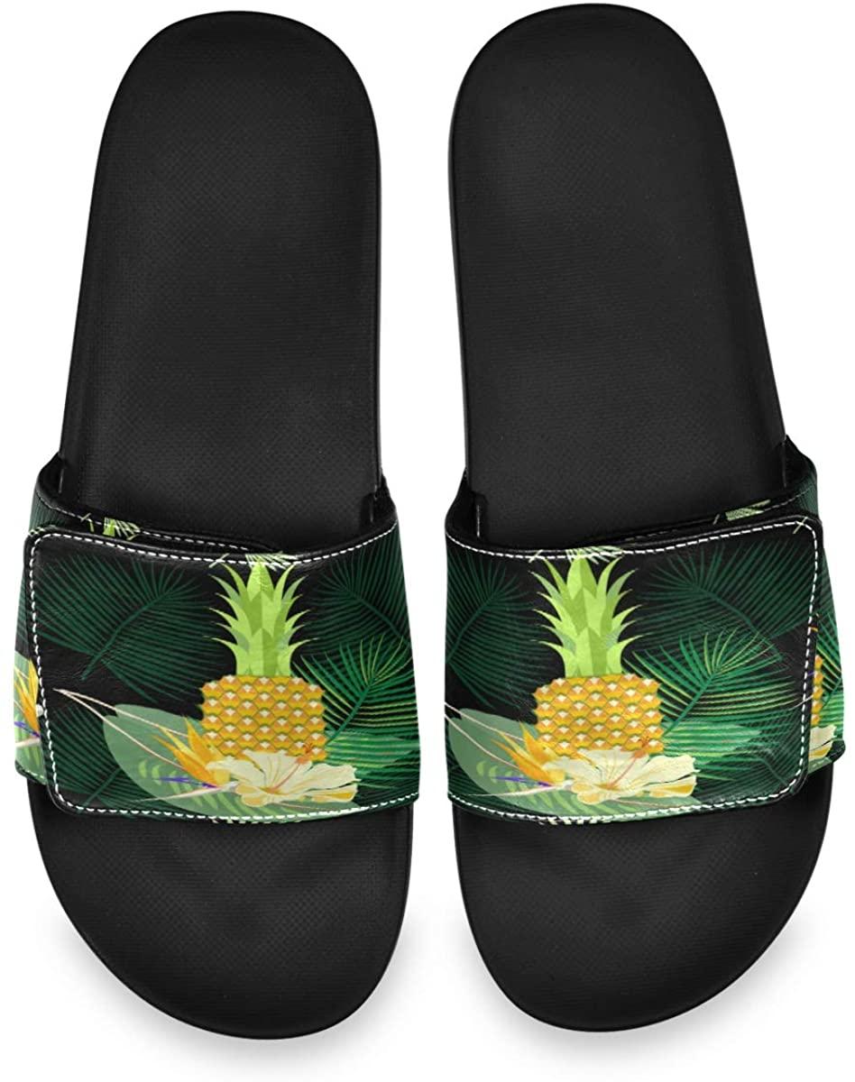 All agree Tropical Exotic Palm Leaves Mens Summer Sandals Slide House Adjustable Slippers Slip On Boys