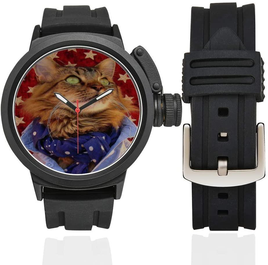 QUICKMUGS2U Look Up The Cat Men's Sports Analog Quartz Watch Large Face Wrist Business Casual Watch Men