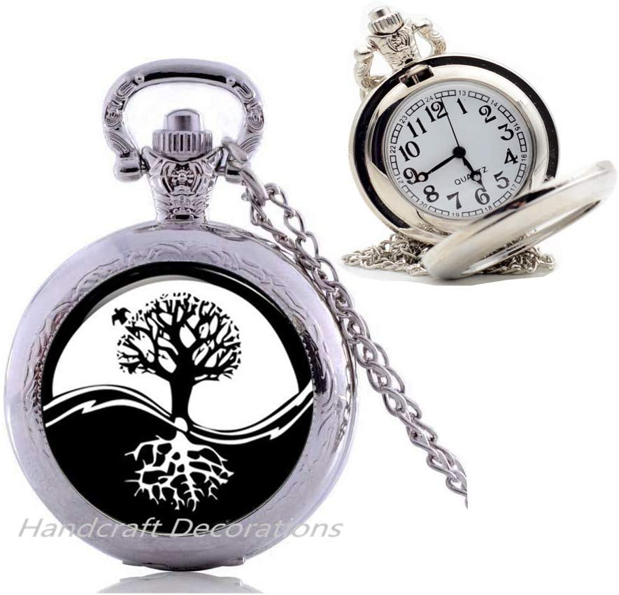 HandcraftDecorations Charm Yin-Yang Tree of Life Pendant Astrology Pocket Watch Necklace Jewelery Charm Pendant for Him or Her.F271