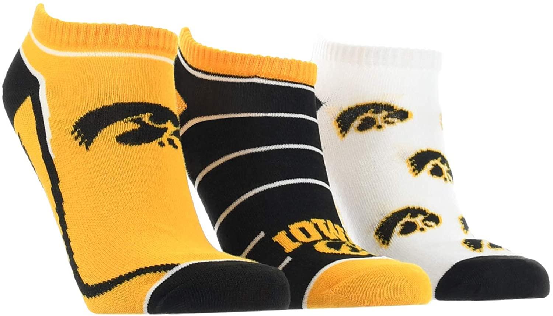 TCK Iowa Hawkeyes No Show Socks Full Field 3 Pack