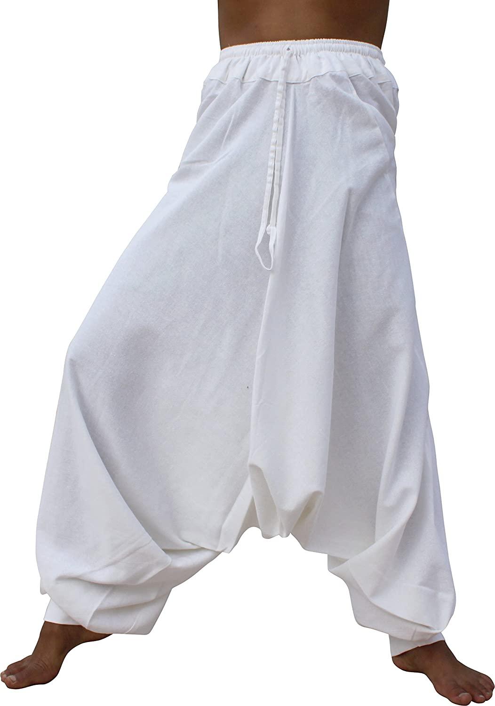 RaanPahMuang Elastic Waist and Cuffed Ankles Baggy Aladdin Mao Pants