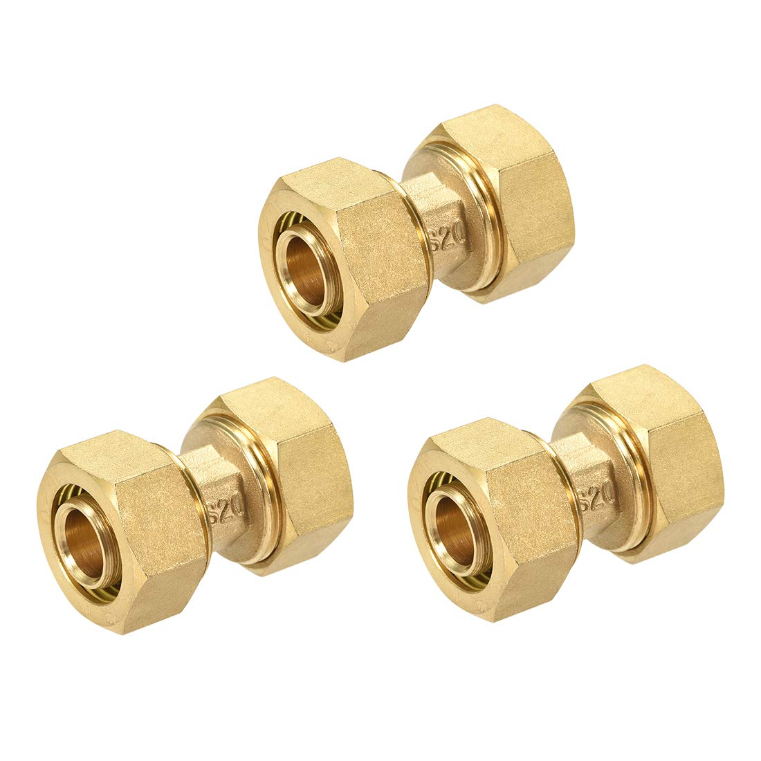 uxcell Brass Compression Tube Fitting Connector Adapter for 16mm Tube ID 20mm Tube OD Gold Tone 3pcs