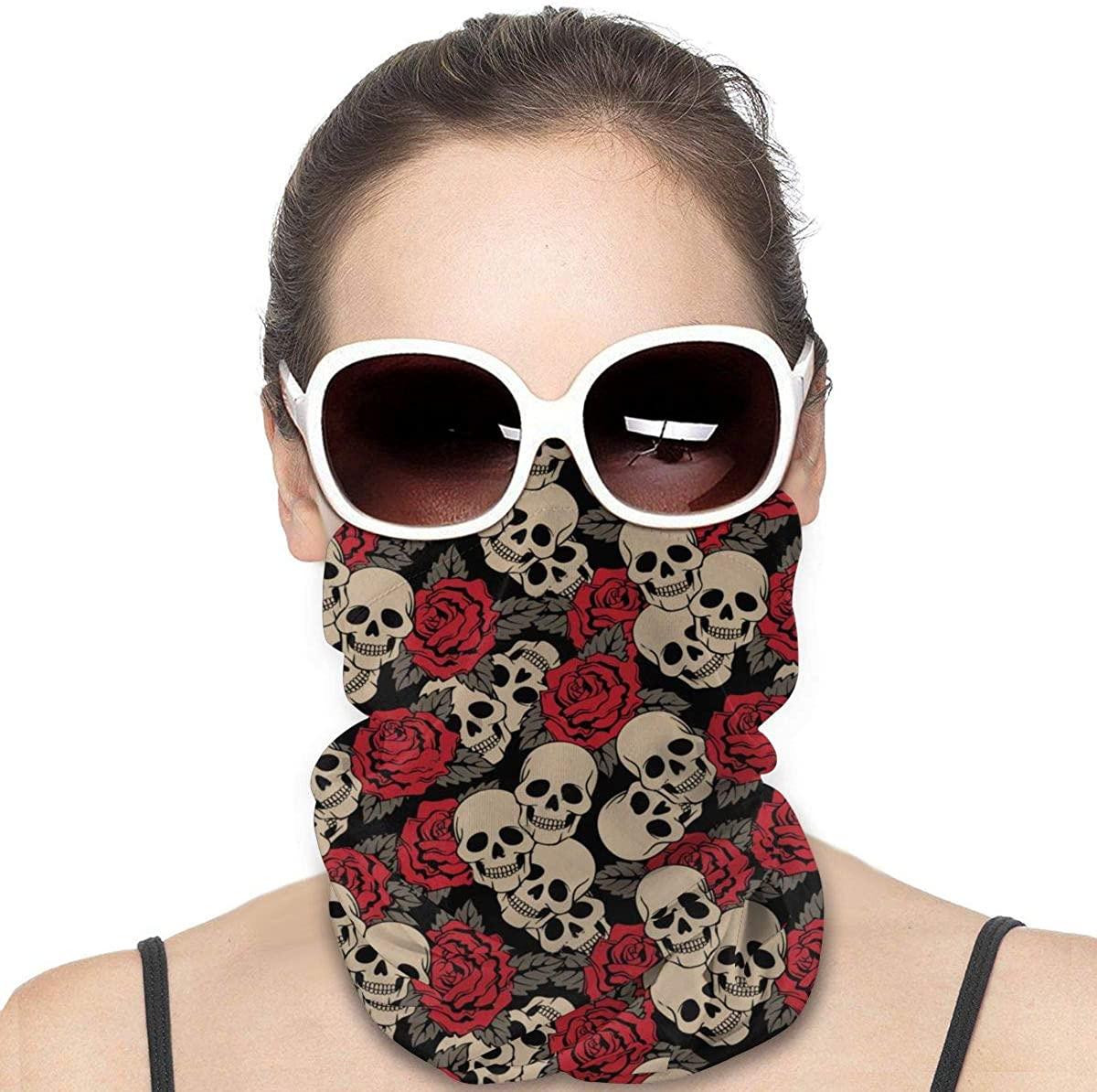 Bandana Vector Seamless with Roses and Skulls Face Mask UV Sun Mask Dust Wind Neck Gaiter Magic Scraf
