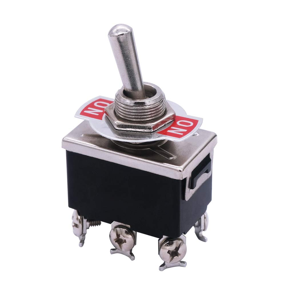 mxuteuk 3pcs Heavy Duty Rocker Toggle Switch 16A 250V 20A 125V DPDT ON/ON 6 Terminal 2 Position, 2 Years Warranty Ten-1321
