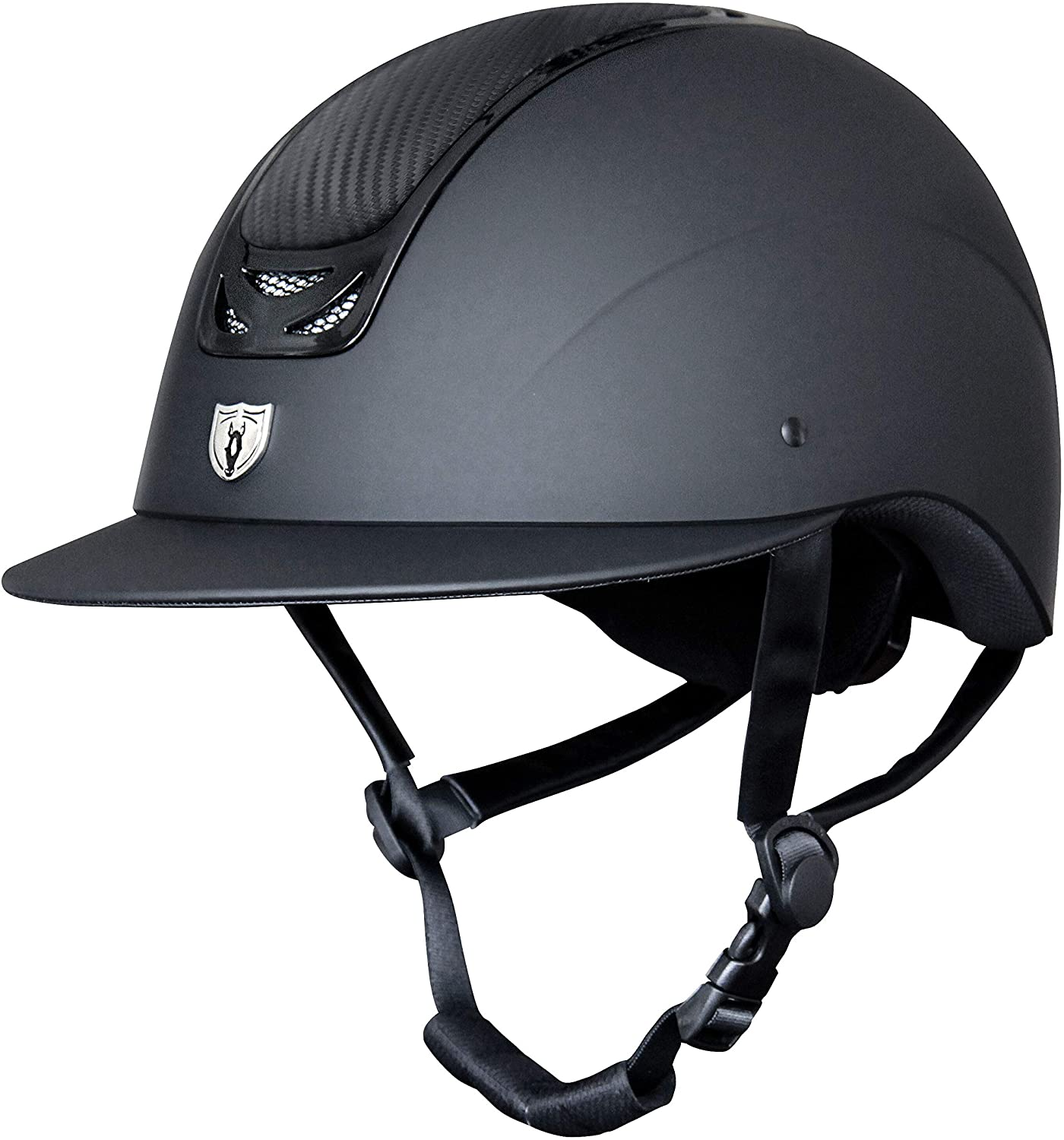 Tipperary Royal English Riding Equestrian Horse Helmet Matte Black Wide Brim Carbon Leather Top Style #9503W