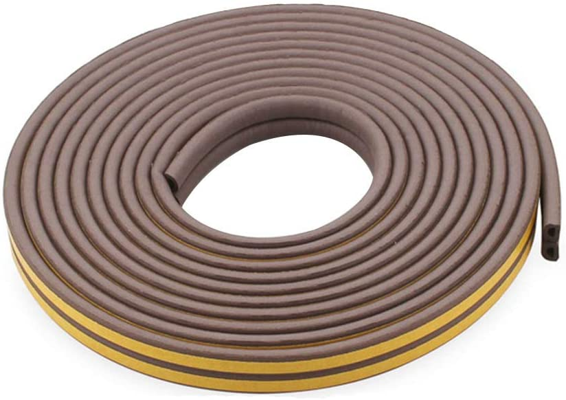 Ursend Weather Stripping for Door,Insulation Weatherproof Doors and Windows Soundproofing Seal Strip,Collision Avoidance Rubber Self-Adhesive Weatherstrip (32.8 ft, Brown)