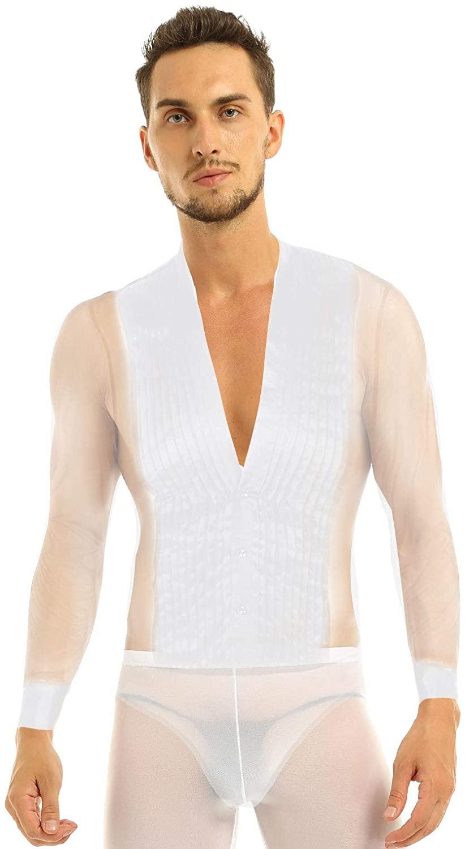 TiaoBug Men's Long Sleeve See Through Sheer Mesh Splice Latin Ballroom Dance Leotard Bodysuit Shirt