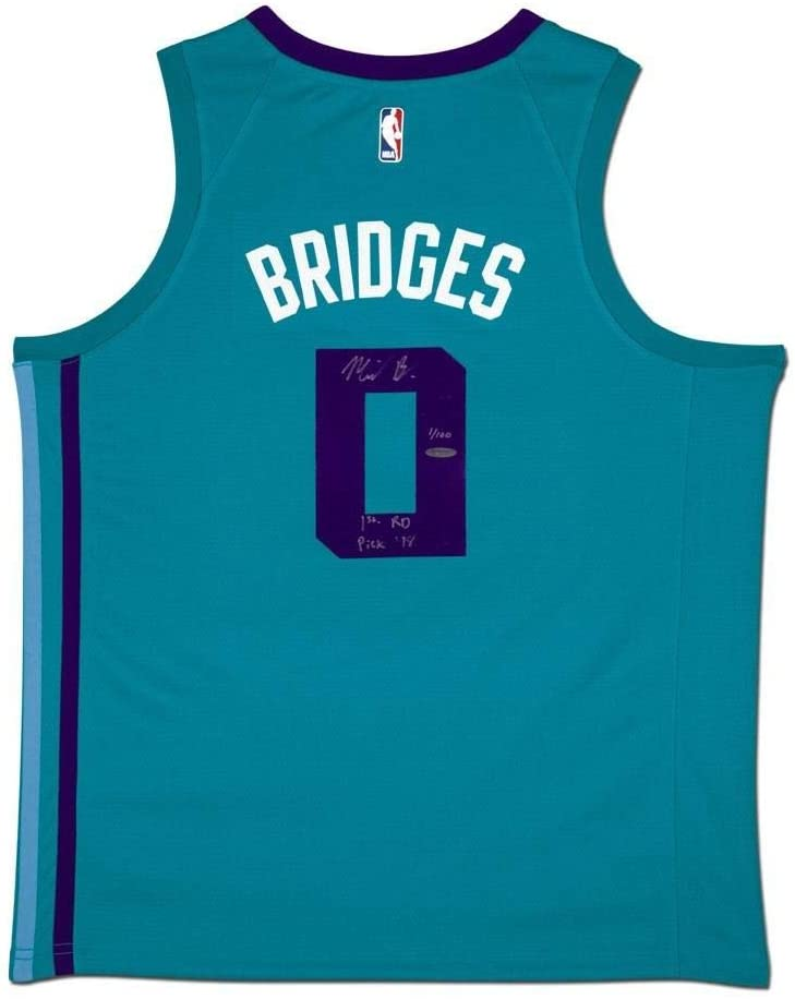 Miles Bridges Signed Jersey - & Inscribed Teal Nike Swingman - Upper Deck Certified - Autographed NBA Jerseys