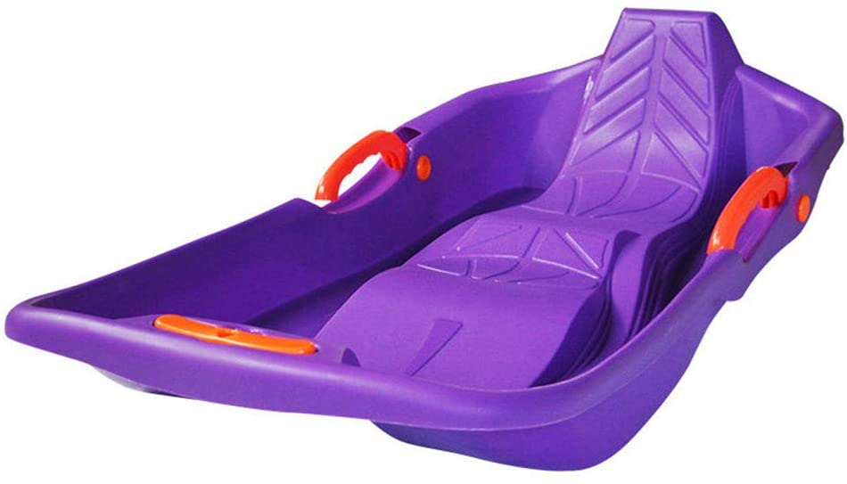 ZMXZMQ Snow Boat Sled, with Handles and Pulling Rope, Double Sled - Sled Holds 2 Riders,Purple