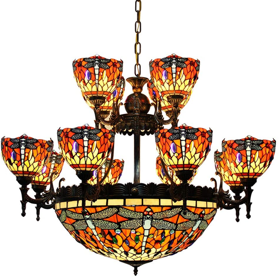 Makenier Vintage Tiffany Style Stained Glass Red Dragonfly 24 Inches + 8 Arms + 4 Arms Double Layer Big Chandelier