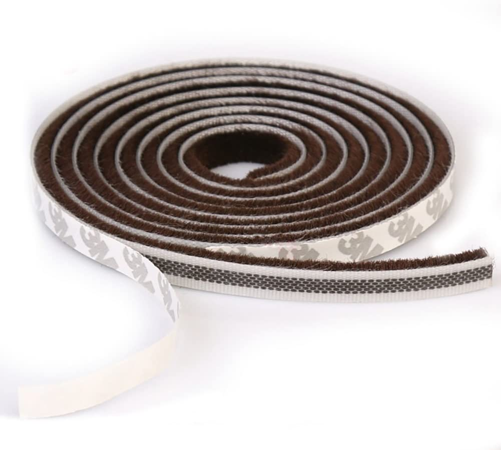 T&B Self-Adhesive Pile Weatherstrip for Windows & Doors 3/8-Inch x 3/8-Inch Brown (16.5ft)