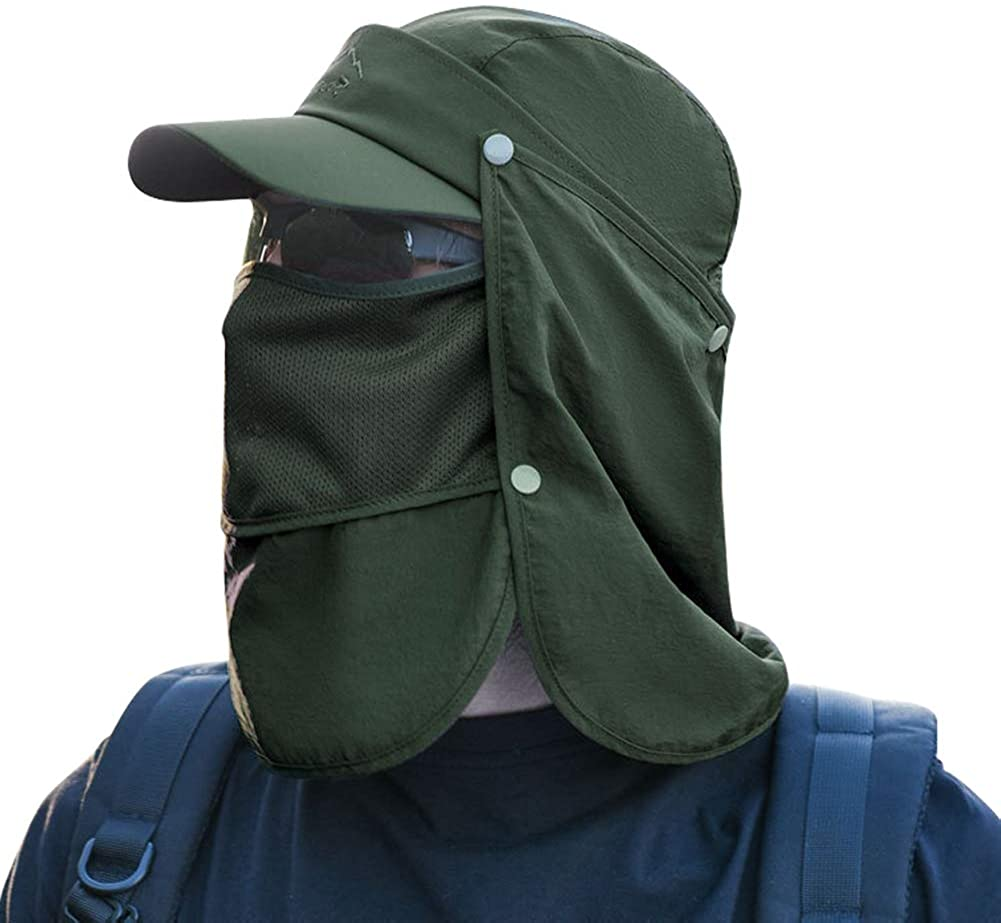Sun Cap Fishing Hat Quick Dry Baseball Cap with Face Neck Cover Flap for Man and Woman