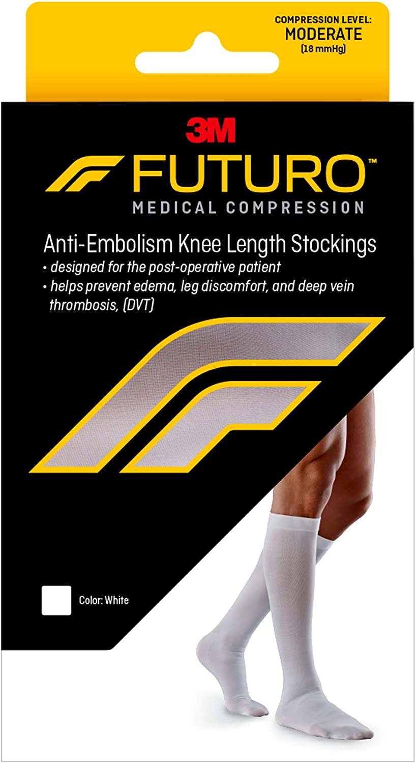 Futuro Anti-Embolism Knee Highs, Unisex, Moderate Compression, 15-20 mm/Hg, Helps Reduce Formation of Blood Clots