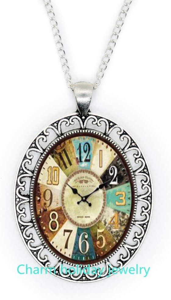 Clock Art Pendant,Clock Necklace,Clock Jewelry,Clock Pendant,Time Necklace, Bridesmaid Jewelry Unique Jewelry-#339