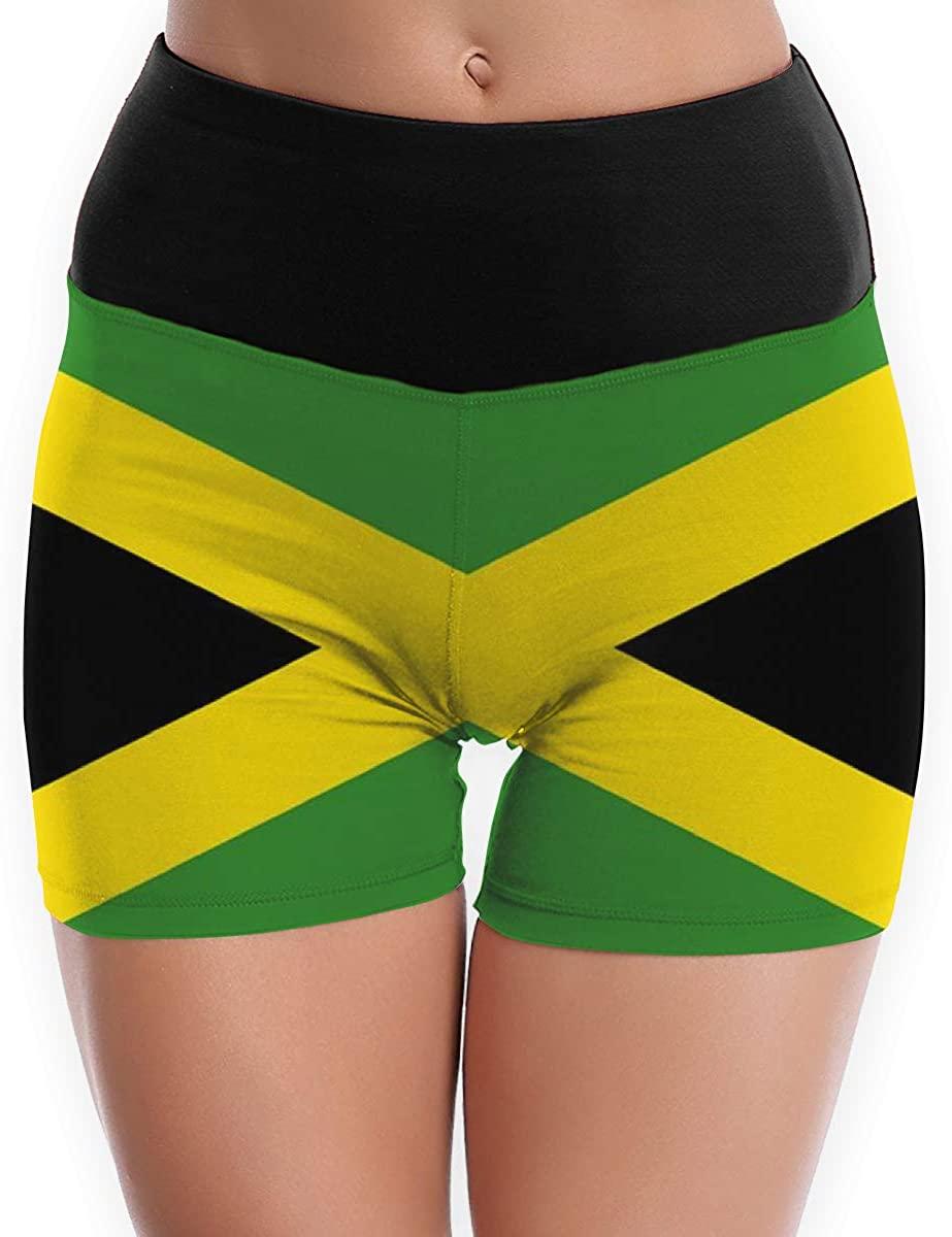 CHEERPEACETIME Women Yoga Shorts Pants Flag Jamaica High Waist Workout Running Stretch Leggings