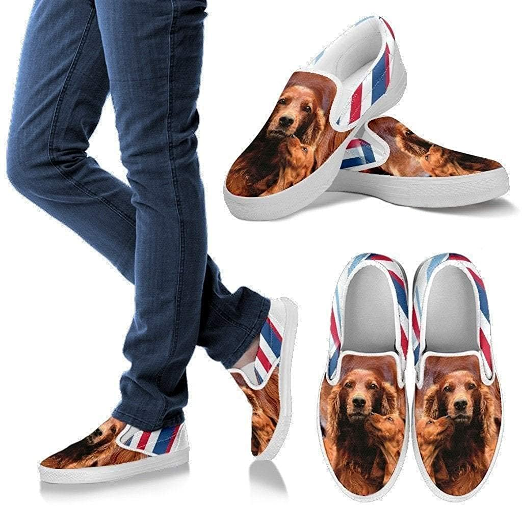 Paws With Attitude Irish Setter Print Slip Ons for Women- Express Shipping