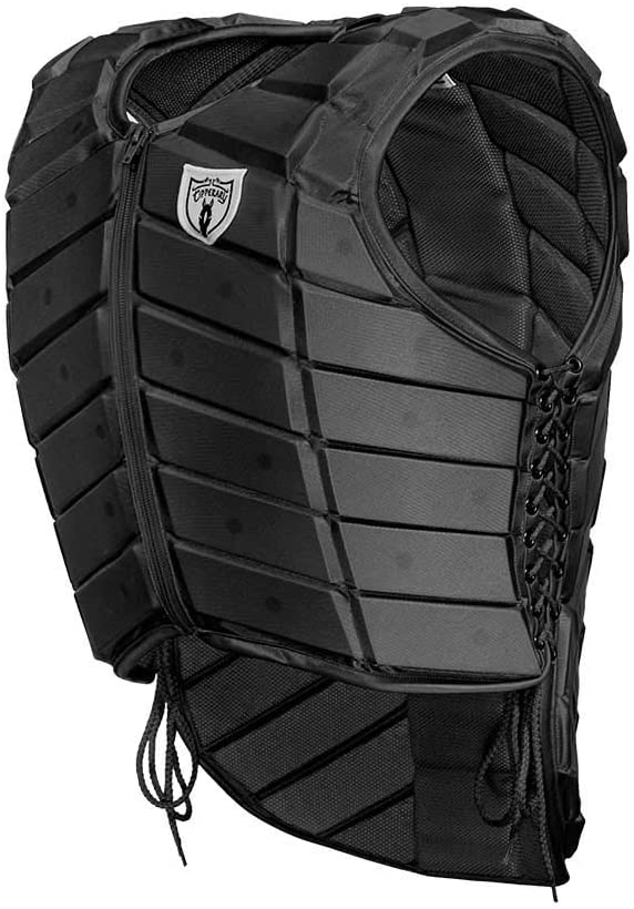 TIPPERARY EQUESTRIAN Horse Riding Eventing Vest - Eventer - English Style Protective Horseback Riding Apparel - Flexible Customizable Fit Body Protector - Black - YXL