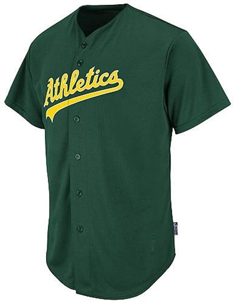 Adult 2X Oakland Athletics Full-Button Blank Back Major League Baseball Cool-Base Replica MLB Jersey Green