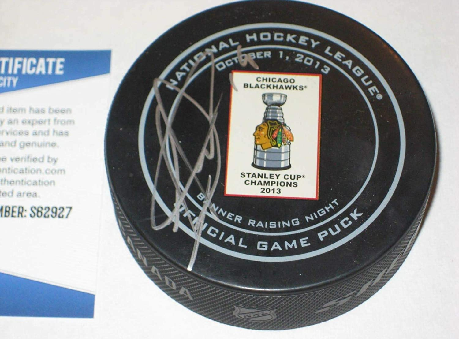 Jonathan Toews Signed Puck - 2013 BANNER NIGHT Official w Beckett COA - Beckett Authentication - Autographed NHL Pucks