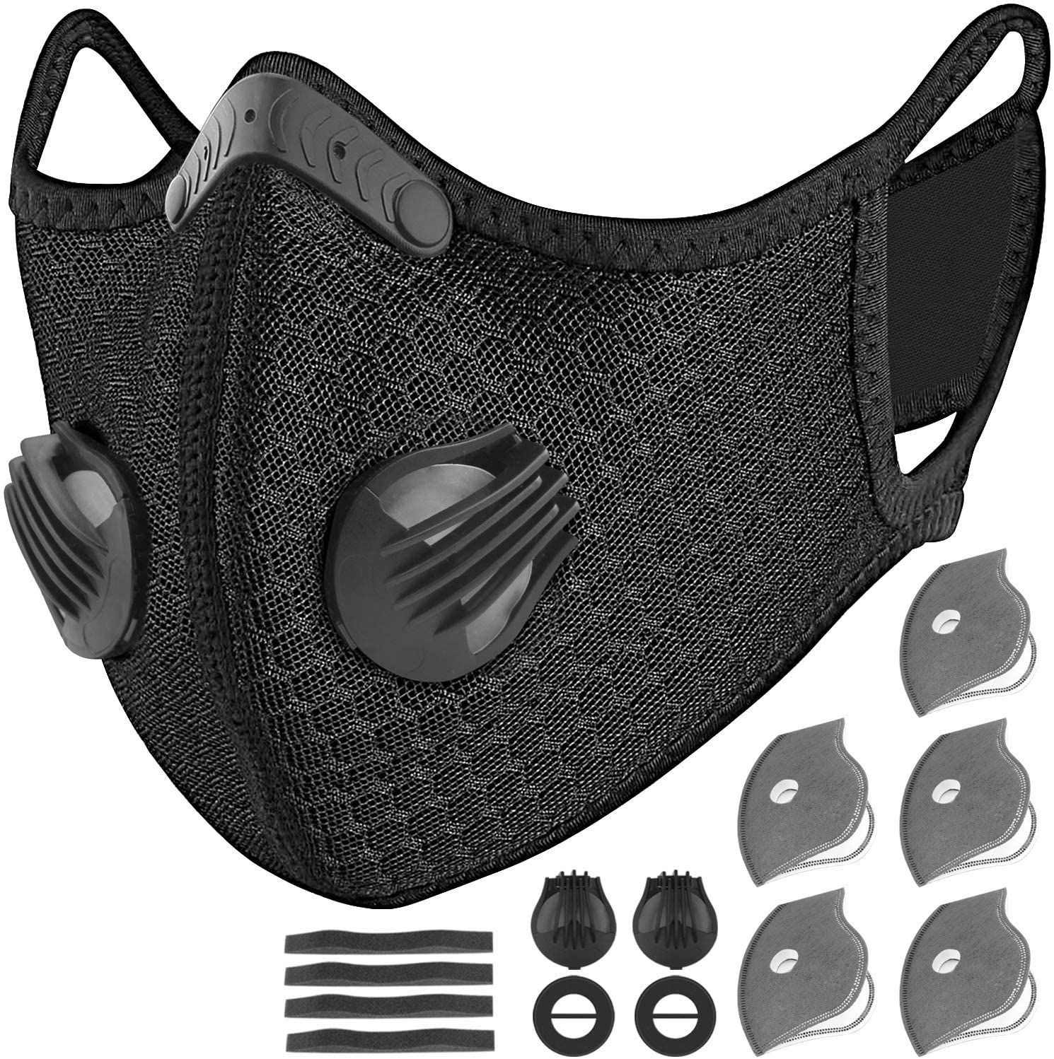 UBRU Sports Mask Cycling Mask with Inner Activated Carbon Filter and 5 Extra Filters, 2 Breathing Valve and 4 Soft Foam Padding for Walking Running Cycling