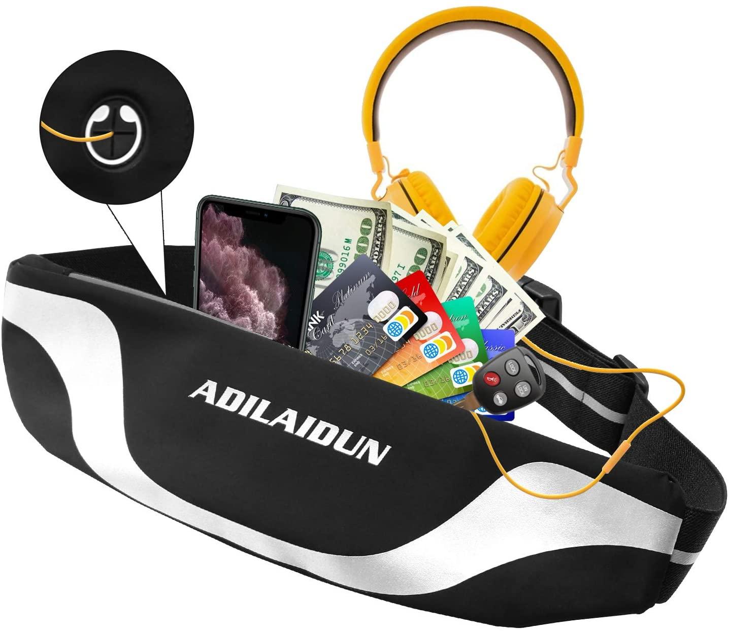 Tsuinz Running Belt, Adjustable Waist Pouch Belt with Reflective Stripes, Waterproof Running Waist Pack for iPhone 11 Pro Max/Xs/XS/XR/8, Galaxy S20 Ultra/10+,Ultra Light Runners Belt for Men Women