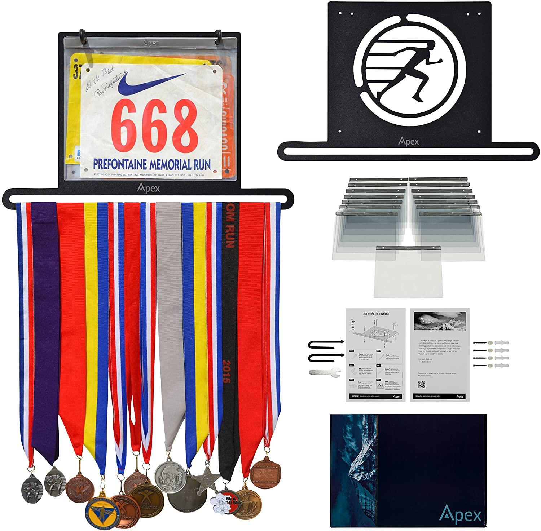 Apex Medal Hanger and Bib Holder Display Rack   Organizer for Sports,Races, Running Marathons, Gymnastics Awards & Ribbons   Premium Bundle