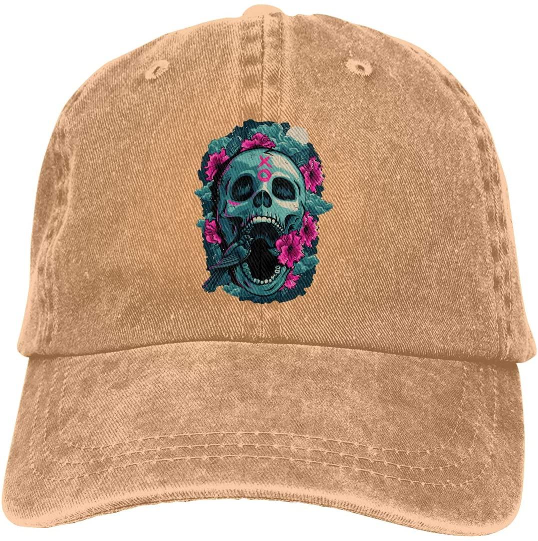 IASIFD Skull Art Unisex Flex-fit Hat Hip Hop Baseball Cap Sun Hat Outdoor Cap Natural