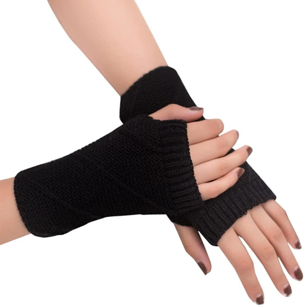 Lavany Women's Girls Knitted Fingerless Warm Winter Gloves Soft Warm Mitten