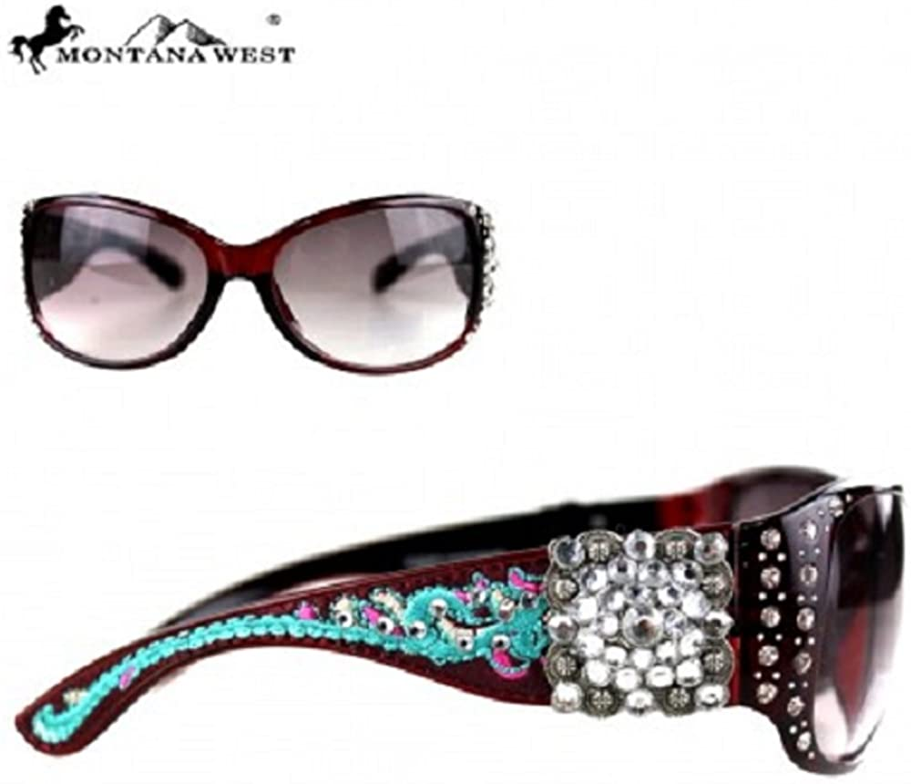 Montana West Embroidery Square Concho Collection Sunglasses