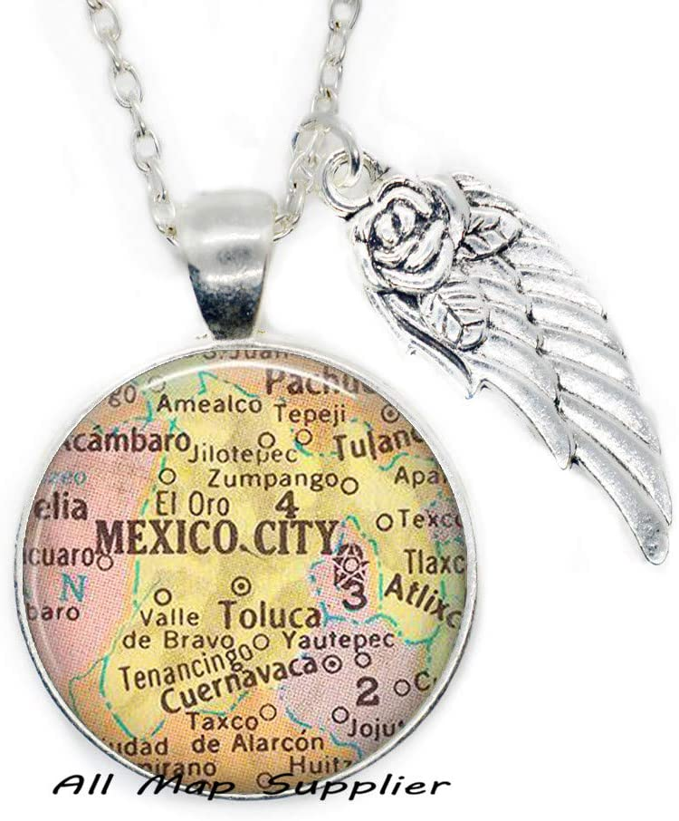 AllMapsupplier Fashion Necklace Mexico City map Necklace,Mexico City Necklace,Mexico City map Pendant,Mexico City Pendant Fashion map Jewelry,A0040