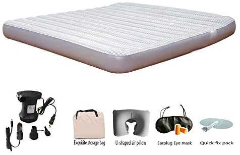 FANLI Built- Pillow Air Mattress, Double Bed Air Bed Portable Durable Lightweight Home Outdoor Campg Adventures Travel-d 191x137(75x54in)