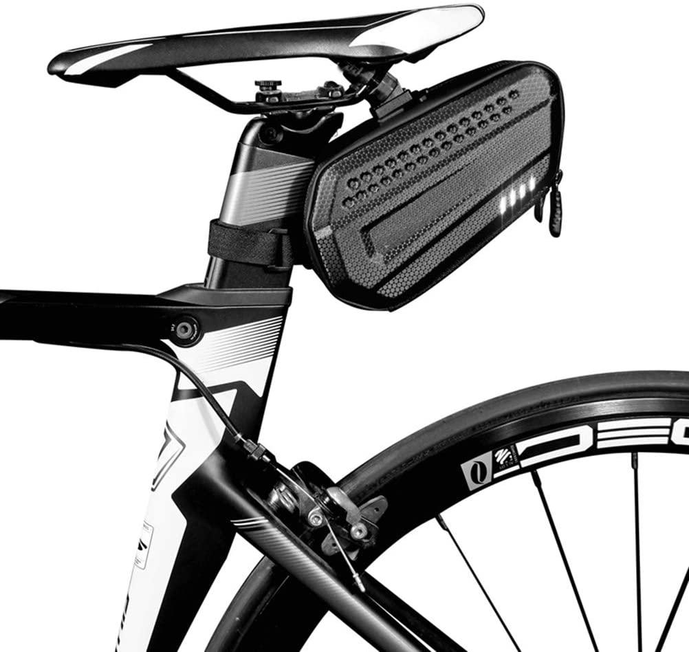 Mumaya Bicycle Saddle Bag Waterproof Bicycle Storage Bag with Reflective Stripes, Large Capacity Mountain Bike Road Bike Tail Bag