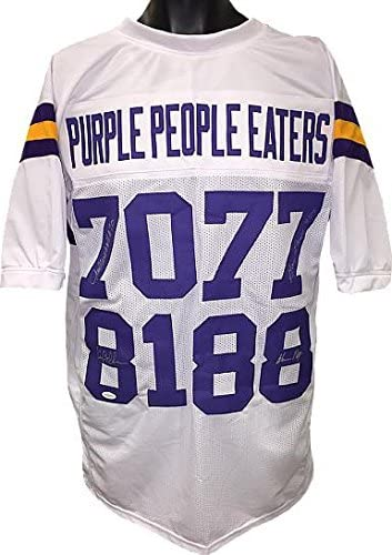 Purple People Eaters signed White TB Custom Stitched Pro Style Football Jersey XL w/Carl Eller/Alan Page- 4 sigs