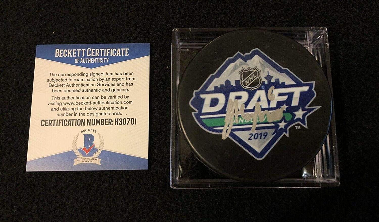 Jack Hughes Autographed Puck - 2019 NHL Draft Beckett COA - Beckett Authentication - Autographed NHL Pucks
